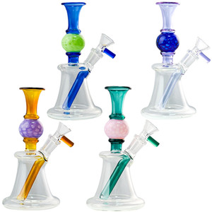 2021 Straight Perc Heady Glass Bongs Ball Shape Water Pipes N Holes Percolator 7 Inch 14mm Small Mini Oil Dab Rigs With Bowl
