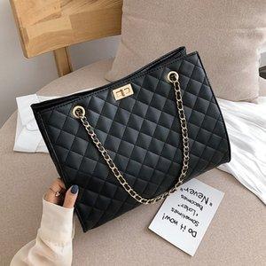2021 NEW Black Big Tote Bags for Women Chain Crossbody Bag Diamond Lattice Shoulder Bag Female Large Leather Plaid Shopper Handb