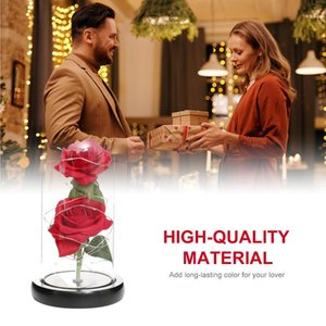 Rose in Glass Dome with LED Lights Forever Red Rose Artificial Flowers for Women Mother's Day Valentine Romantic Gift Home Decor