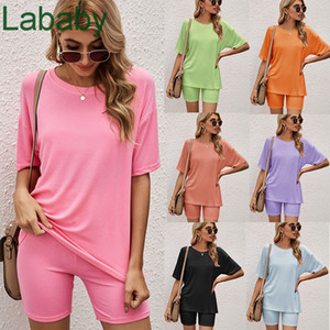 Summer Women Two Piece Set Tracksuit Designer Fashion Short Sleeve T Shirt Tight Shorts Sportswear Lady Multicolor Casual Home Outfits 2021