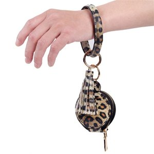 9 Colors PU Leather Tassels Bracelets Keychain Wristlet Earphone Bag Makeup Bag With Mirror Keyring Bluetooth Headset Storage Box CCF5012
