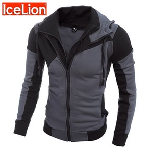 Icelion Autumn Hoodies Men Patchwork Cremallera Cardigan Sudaderas Slim Fit Sportswear Moda Casual Chándal Dropshipping 201104