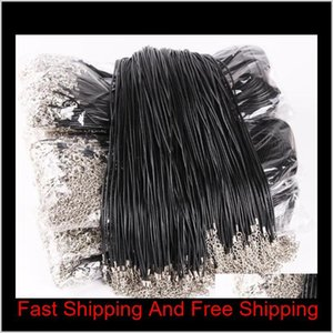 Black Leather Cord Rope 1.5Mm Wire For Diy Pendant Necklace Gift With Lobster Clasp Link Chain Charms Jewelry 100Pcs Lot Wholesale Jjn Zdc8G