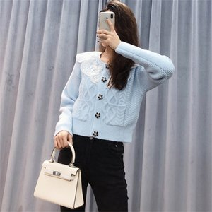 Gulinaza same baby collar lace stitching flower drill button knitted cardigan blue sweater woolli