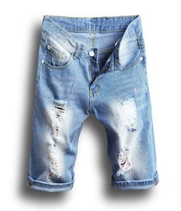 Mens Jeans Light Blue Hole Shorts Men Cool Street Clothes Mens Jeans Stretchy Ripped Skinny Biker Destroyed Taped Denim Shorts