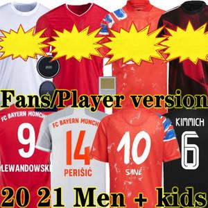 Umano 20 21 21 Race Ventilatori di Sane Soccer Jerseys Lewandowski Davies Muller Gnabry Munchen 2020 2021 Giocatore Uomo Bambini Camicie da calcio