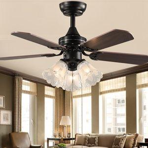 retro ceiling fan with light remote control Ventilador De Techo 220 volt bedroom ceiling light fan E27 bulb