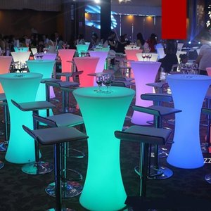 New Rechargeable LED Luminous cocktail table IP54 waterproof Round glowing led bar table Outdoor Furniture bar kTV disco SEAWAY HWF10957