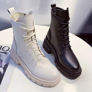 Women's Fashion Short Boot Basketball Competition Up to Motocycle Boots Thick Leather Underwear Martin Ladies' Shoes End Hot 8dqf