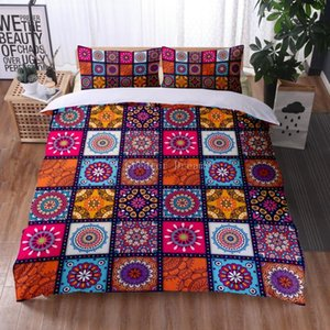 Bedding Sets 3D Set Geometric Duvet Cover Bohemia Style Microfiber 2 3pcs Bed King Queen Size Home Textiles