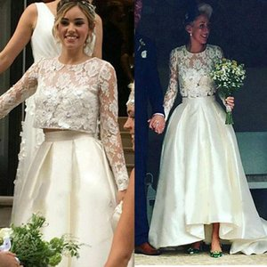2021 Boho Beach Wedding Dresses Two Piece Satin Jewel Neck Long Sleeves Lace Applique Sweep Train Custom Made Wedding Gown vestido de novia