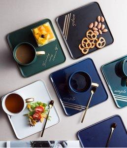 Luxury Style Cafe Hotel Creative Ceramic Coffee Cups Saucer Spoon Set Tea Soy Milk Breakfast Mugs Dessert Plate Three-piece Suit L0309