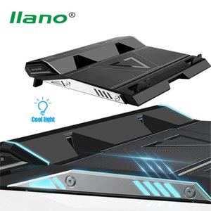 Pads de refroidissement pour ordinateur portable Llano 17inch Gaming Refroidisseur Deux ports USB à double pad de ventilateur, support de radiateur de cahier MUTE surround LED
