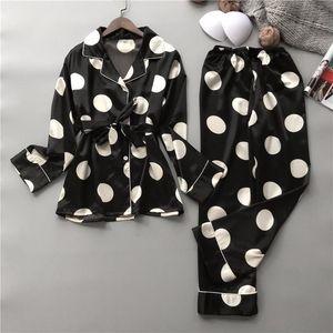 Silk Pajamas Set Women Sexy Print Dot Summer Female Pyjamas Long Shirt 2Piece Set Stitch Lingerie 2019 Home Sleepwear
