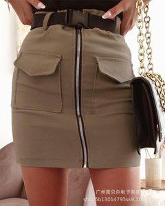 Skirts Women's Sexy Mini Skirt, Fashion Club Party Female Apricot Pocket Zipper Decoration Bag Hip Skirt-without Belt