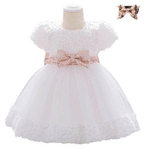아기 소녀 드레스 캐주얼 드레스 소녀 공주 드레스 소녀 옷 아기 착용 레이스 공식 드레스 스팽글 Bowknot 파티 드레스 B4253