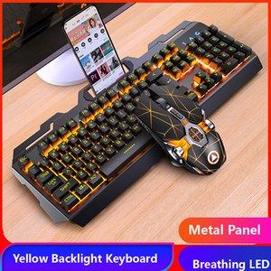 Oyun Klavye Fare Kulaklık Mekanik Duygu RGB LED Aydınlatmalı Gamer Klavyeler USB Kablolu Klavye Oyunu PC Dizüstü Bilgisayar için