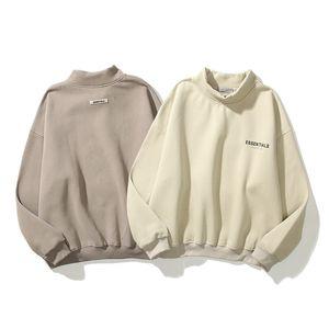 Men's Hoodies FOG Fear Of God Essentials Reflective Print Leather Logo Letter Slogan Turtleneck Sweatshirt Newest
