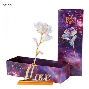 24k Gold Foil Plated Rose Flashing Luminous Rose Flower Golden Rose Wedding Decor Birthday Mother's Day Valentine Day Boxed Gift DBC DH