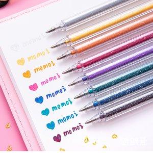 8 Colors Set Glitter Pen Highlighter Color Changing Flash Marker Gel Pens Drawing Scrapbook Album Journal DIY Stationery School