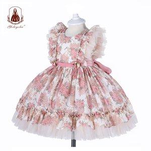 Yoliyolei espagnol lolita robe bébé robe broderie guiche de filles enfants enfant princesse 1er anniversaire vêtements vêtements nouvelles robes de filles 210315