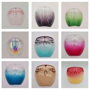 Sicherheit Faceshield mit Gläsernrahmen Transparente volle Gesichtsabdeckung Schutzmaske Anti-Nebel-Gesichtsschild Klare Designer Masksparty-Maske HH21-87