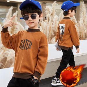 Hoodies & Sweatshirts Boys'  Girls' Cotton Fleece 2021 Plus Velvet Thicken Winter Autumn Warm Tops Kid Baby Children's Clot