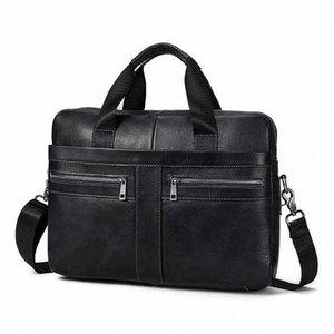 14 Inch Genuine Leather Handbag Briefcase Laptop Document Holder Men Business Women Black a9gh#