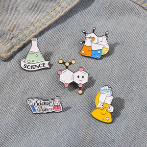Science rules Enamel Cute Cartoon Beaker measuring cup Pins Chinese Bear Brooches Metal Badges Bag Clothes Pin Up Jewelry Gift For Chemistry Lover