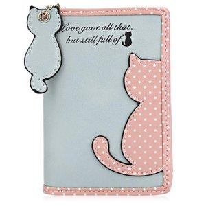 Wallets Female Cute Cat Women's Wallet Mini Wave Point Print Zipper Pattern Kids Purse Leather Short Children Card Holder