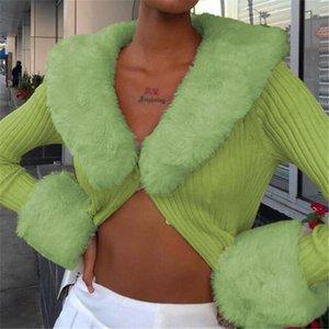 Сексуальные ребристыми вязаные дамы кардиганы свитера с мехом отделку воротник с длинным рукавом стройные осень зима прыжки свитер женские трикотажные одежды