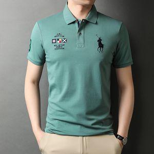 Luxury T-shirts 2021 Straight Hair Short T- Busins Lapel Polo Korean Printing Embroidery Half Sleeve Men's Shirt