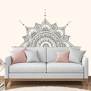 Headboard Decor Lotus Flower Mandala Decal Half Mandala Wall Vinyl Sticker Bedroom Indian Yoga Vinyl Boho Decal MT21 210615