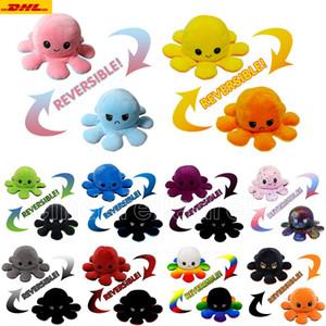 Hot Reversible Flip Octopus gefüllte Puppen Weiche doppelseitige Expression Plüschtier Baby Kinder Geschenk Puppe Neujahr Festival Partei liefert