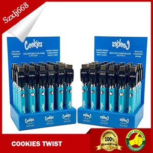 Cookies TWIST Preheat 3.3-4.8V Battery For 510 thread 900mah Preheat VV Cartridge California Vape 30pcs A Display box DHL SHIPPING
