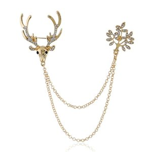 Pins, Brooches Deer Men Women Fashion Jewelry Accessories 2021 Clothing Pin And Brooch With Long Chain Party Christmas Gifts