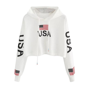 American Flag USA Letters Print Hoodie Women Autumn Harajuku Casual Short Sweatshirt White Drawstring Hooded Pullover Top #Y3