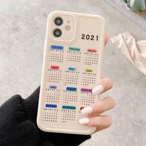2021 Neue Kalender Datum Handy-Fälle für iPhone 11 12 PRO MAX XR x 7 8 Plus Soft TPU-Hülle Kostenloser DHL-Versand