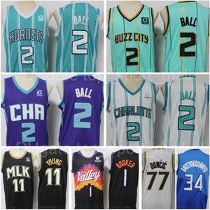 새로운 2 Lamelo Ball Jersey City Basketball Edition 민트 그린 블루 Luka Doncic Devin Booker Trae Young Giannis Atetokounmpo Men S XXXL