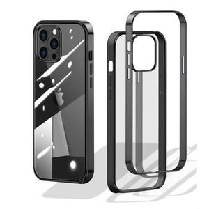Caso de telefone galvanoplado para iPhone 12 Mini 12 Pro Max Anti-Queda TPU Quadro Protetora Protetora Dura PC Duro Tampa traseira