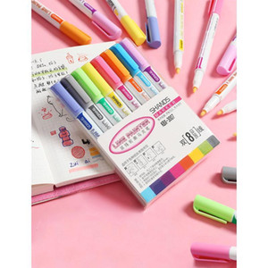 Kawaii Highlighter Pens Cute Double Lines Colorful Line Painter Art Markers Stationery For Drawing School jllkVC