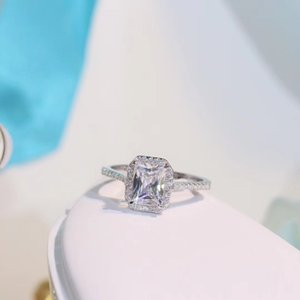 TSHOU34 TIFF 925 Crystal Sterling Silver Rings For Wedding Engagement Jewelry Accessory Fine Gift 201026