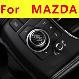 Car Gear shift Knob Switch Button Cover Trim Styling Sticker carbon fiber Interior decoration For Mazda CX-5 CX5 2015 2016-2021