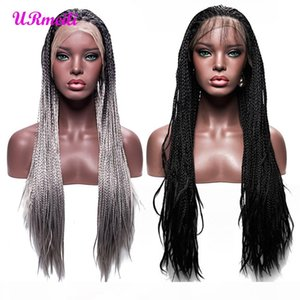 Long Black Braided Box Braids Wig Synthetic High Temperature Fiber Lace Front Wigs For Women 30 inch 2 Tone Color Ombre Grey Wig