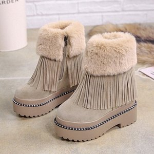 Lucyever para mujer Botas de tobillo de borla ocasionales Mantenga la piel caliente Botas de nieve de invierno Ladies Plataforma gruesa cuñas ocultas Botas Mujer V5es #