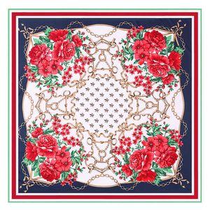 New fashion 130cm women's chain flower printing twill simulation Silk large square shawl Scarf PX6K