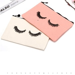 23cmx14.5cm Large canvas Eye Lashes Printed Woman Drawstring Makeup Bag Zipper Clutch Bag Cosmetic Organizer RRE8642