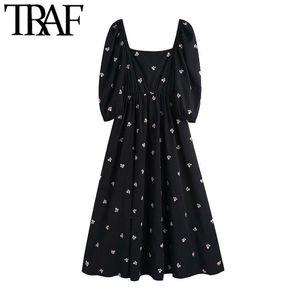 TRAF Kadınlar Chic Moda Çiçek Nakış Midi Elbise Vintage Kare Yaka Elastik Trim Kadın Elbiseler Vestidos Mujer