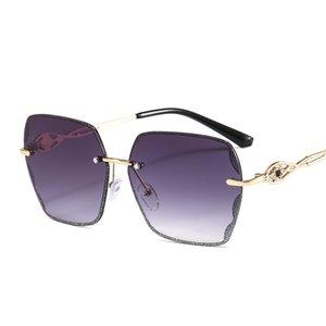 Frameless 컷 - 에지 다이아몬드 선글라스 숙녀 야생 브랜드 눈부신 색상 신제품 공장 직접 선글라스 7146 여성을위한 선글라스