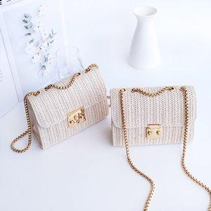 INS Girls hollow grass weavings handbags kids heart metals buckle chain crossbody bag women beach holiday straw one-shoulder bags 3053 Q2
